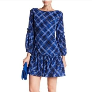 Eliza J Blouson Sleeve Ruffle Plaid Shift Dress